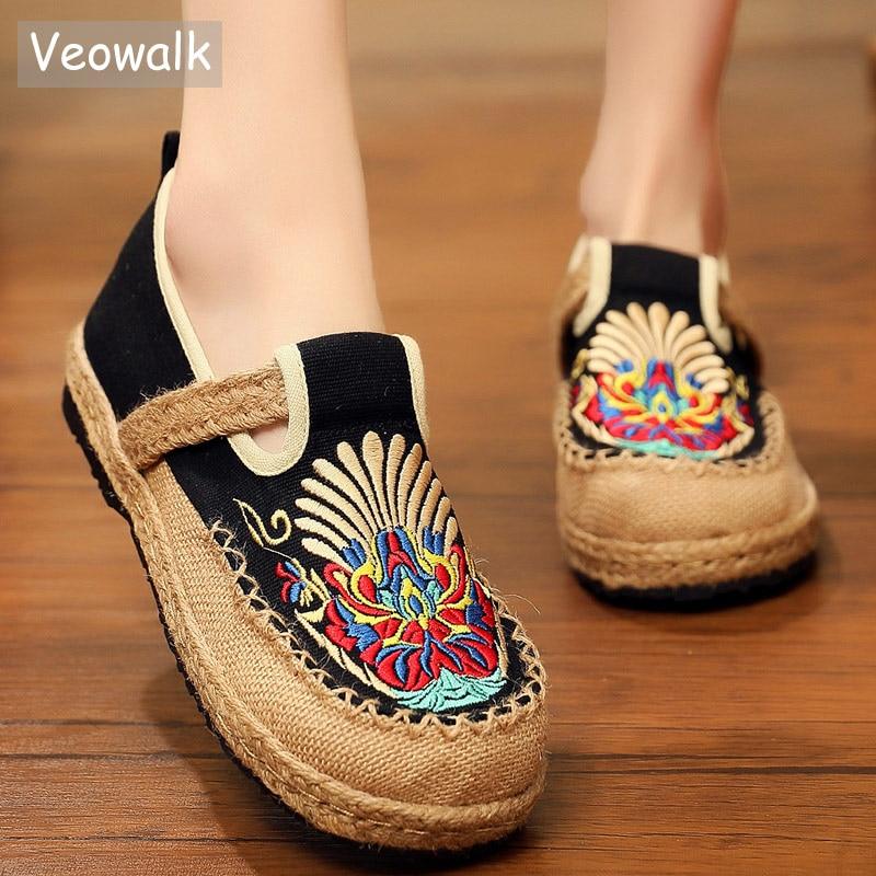 Veowalk Chuanju Mask Embroidered Women Linen Loafers Espadrilles Ladies Handmade Work Shoes Woman Comfortable Platform Sneakers