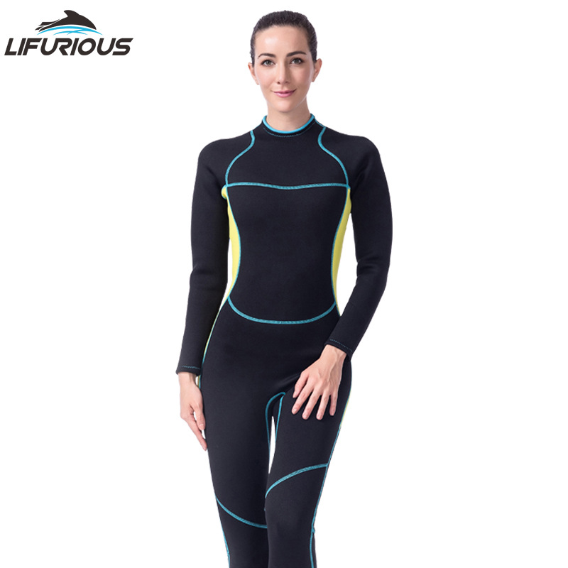LIFURIOUS 3MM Neoprene Women Diving Wetsuit Full Body Surfing Suits Rash Guards Jumpsuit UV Sun Protection Swimming Equipment