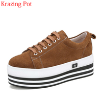 2018 New Arrival Superstar Cow Suede Lace Up Round Toe Sneakers Thick Bottom Casual Shoes Handmade Women Vulcanized Shoes L85