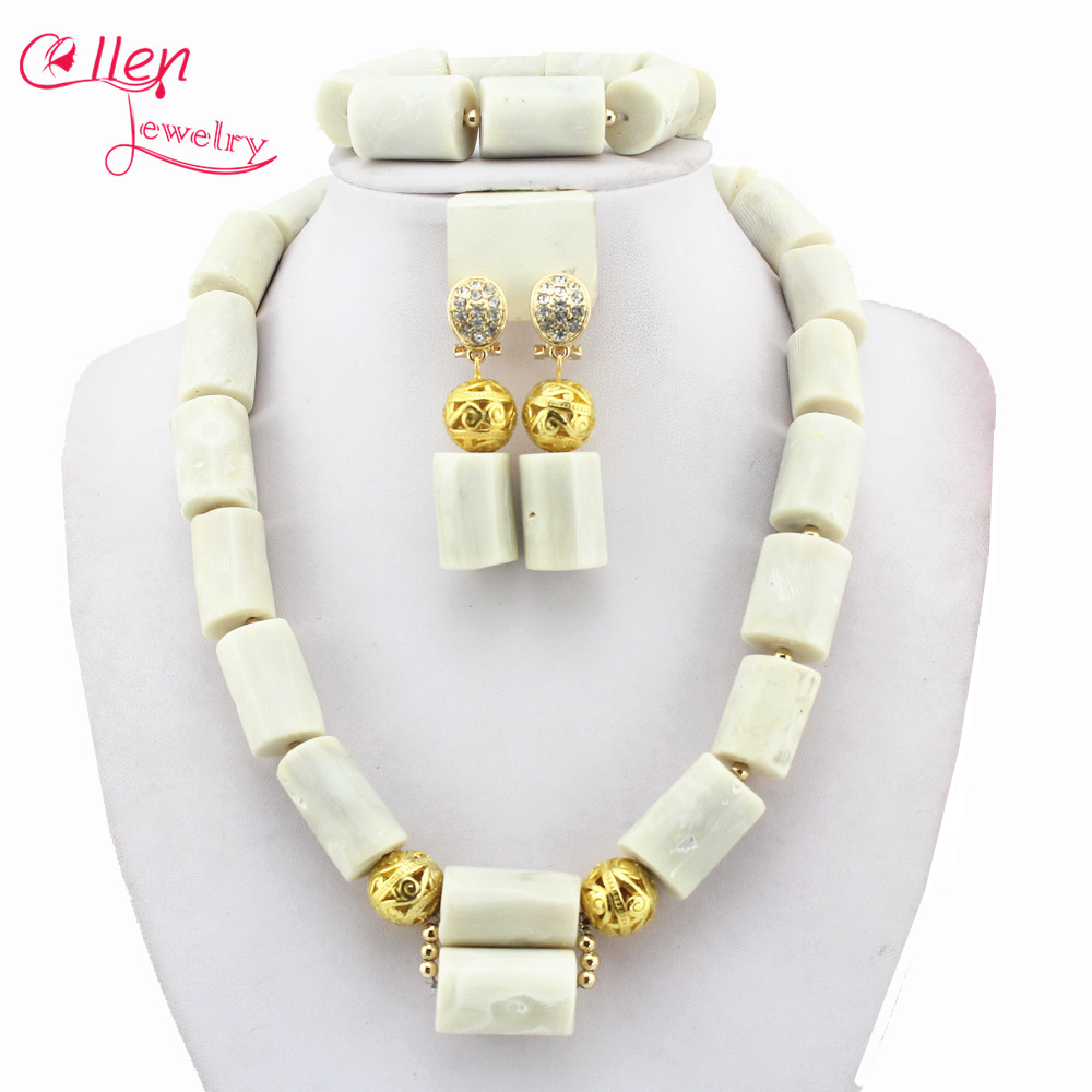 White Nigerian Coral Jewelry Sets Coral Beads Necklace Set Nigerian African Wedding Beads Jewelry Sets E1186 стоимость