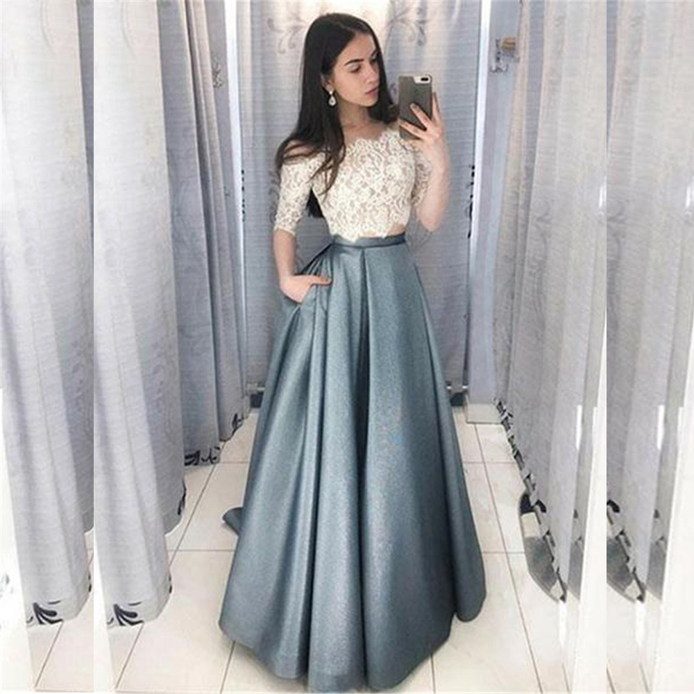 Bbonlinedress New Arrival Two Pieces Evening Dress 2019 Short Sleeves Formal Dress Top Lace Pocket Floor Length Evening Gown