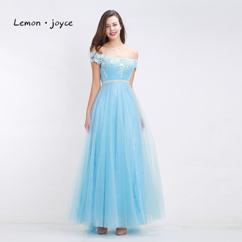 Fantasy sky blue bridesmaid dresses 2018 boat neck off shoulder fantasy sky blue bridesmaid dresses 2018 boat neck off shoulder appliques tulle simple a line dresses prom gowns plus size in bridesmaid dresses from ombrellifo Image collections