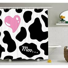 Vixm Cow Print Shower Curtain Camouflage Hide Pattern In Black And White With Cute Pink Heart Shape Moo Fabric Bath Curtains