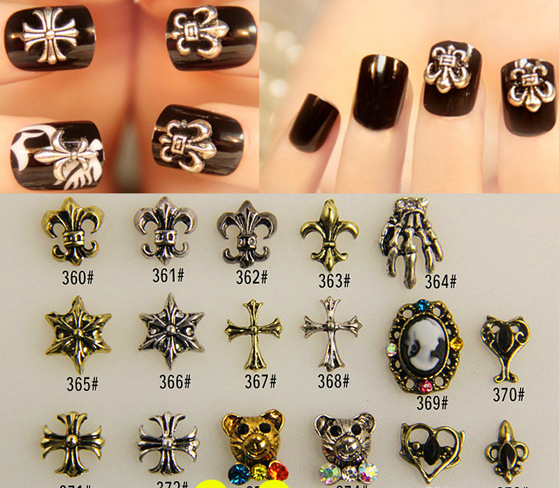 Nail jewelry wholesale diamond Crowe star bride a piece of metal parts alloy material patch nail polish 10pcs/lot