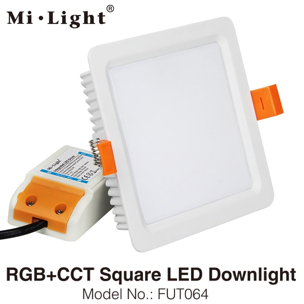 MiLight FUT064 9W RGB+CCT Square LED Downlight Reccessed Light AC85-265V WiFi Compatible 2.4G 4-Zone Wireless Remote