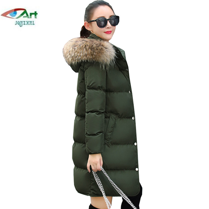JQNZHNL Winter women jacket medium long hooded fur collar thick warm cotton Jackets new fashion women Cotton-padded Coats AS382 2017 winter classic fashion fur hoodie coat jacket women thick warm long sleeve cotton coats student medium long loose overcoat