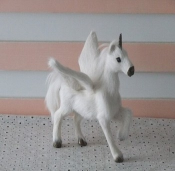 Cute small white simulation Unicorn toy resin&fur Pegasus horse doll with wings gift about 16x15cm 1962 фото