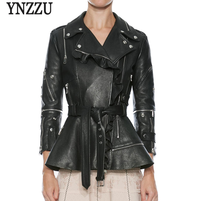 YNZZU 2018 New Fashion Women Soft Faux   Leather   Jackets Ruched Motorcycle Zippers Biker Pink Slim Coat Outerwear with Belt YO603