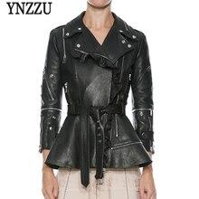 YNZZU New Fashion Women Soft Faux Leather Jackets Ruched Motorcycle Zippers Biker Pink Slim Coat Outerwear with Belt YO603