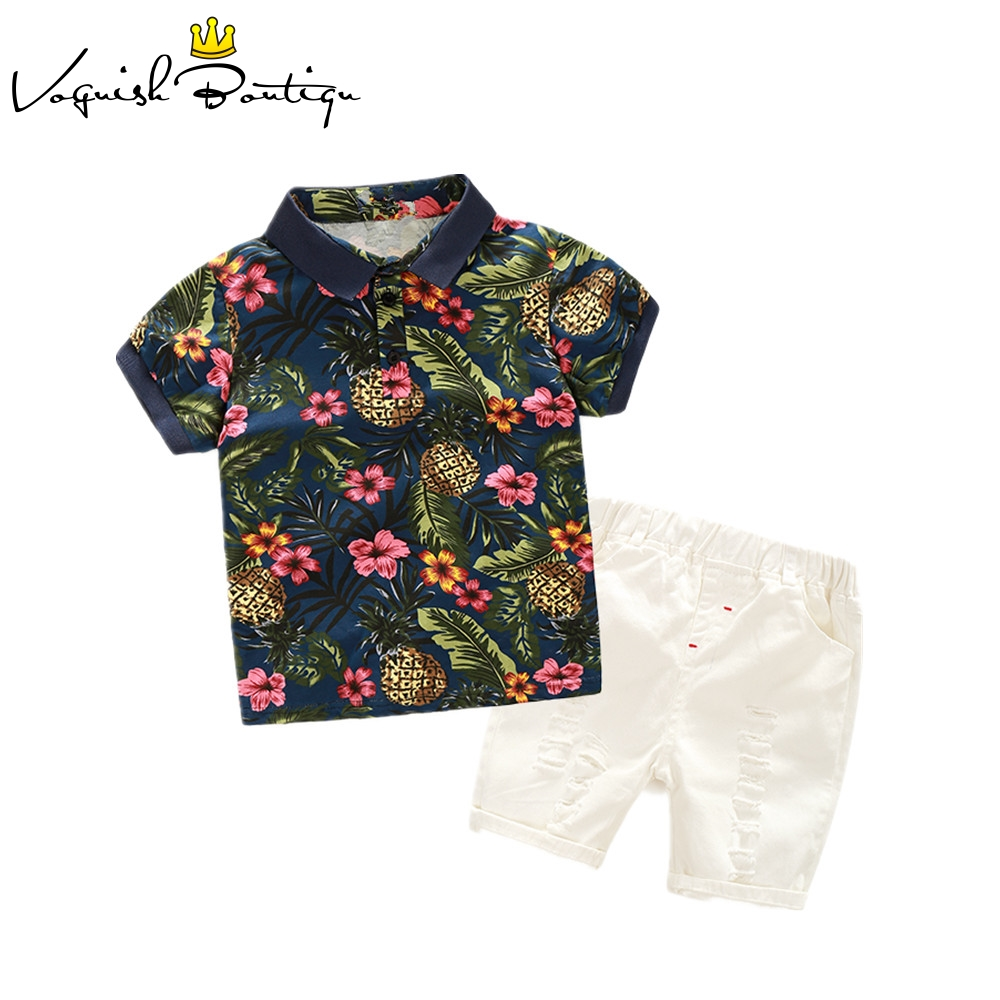 где купить Kimocat boys clothes Floral polo shirts+ white casual shorts for kids clothes summer clothing sets по лучшей цене
