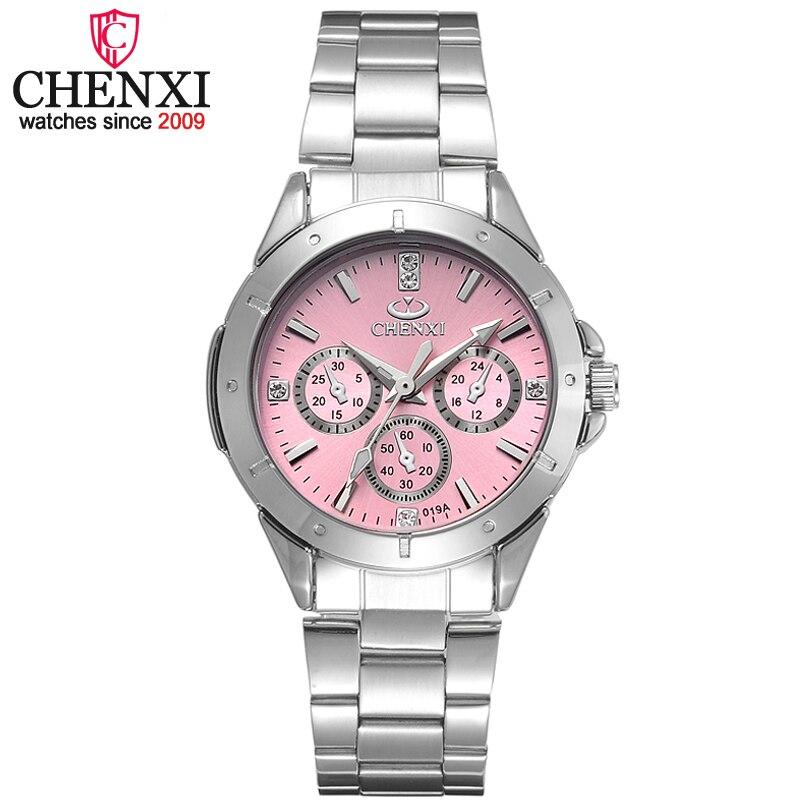 CHENXI Relojes de acero de la moda para Mujer estilo Simple mujeres cuarzo-reloj marcas de lujo Relojes Mujer
