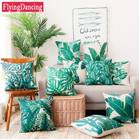 Green Leaf Print Cushion With Inner Throw Pillow Cover Case Linen Seat Waist Cushion Cover For