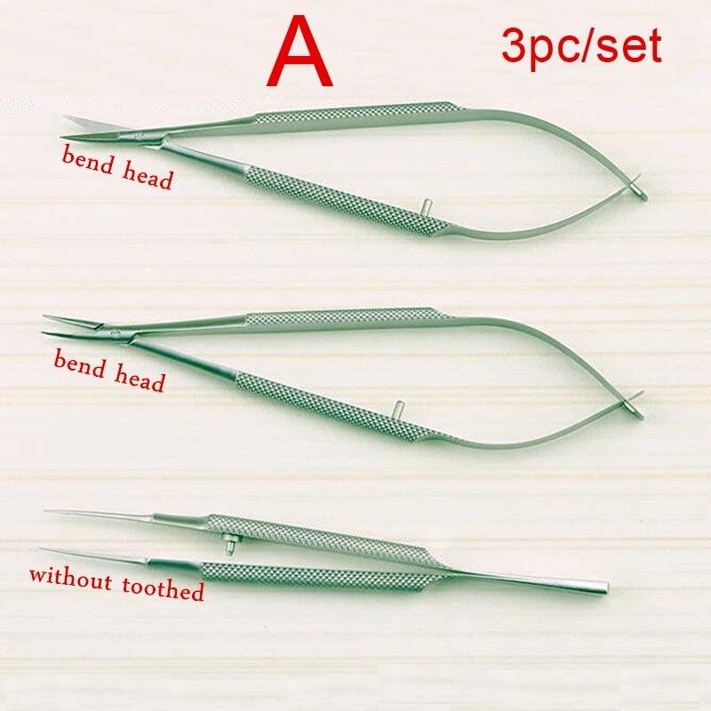 3 pz/set attrezzature 12 cm oftalmica strumenti microsurgical Porta Aghi Micro forbici Pinzette chirurgia della mano