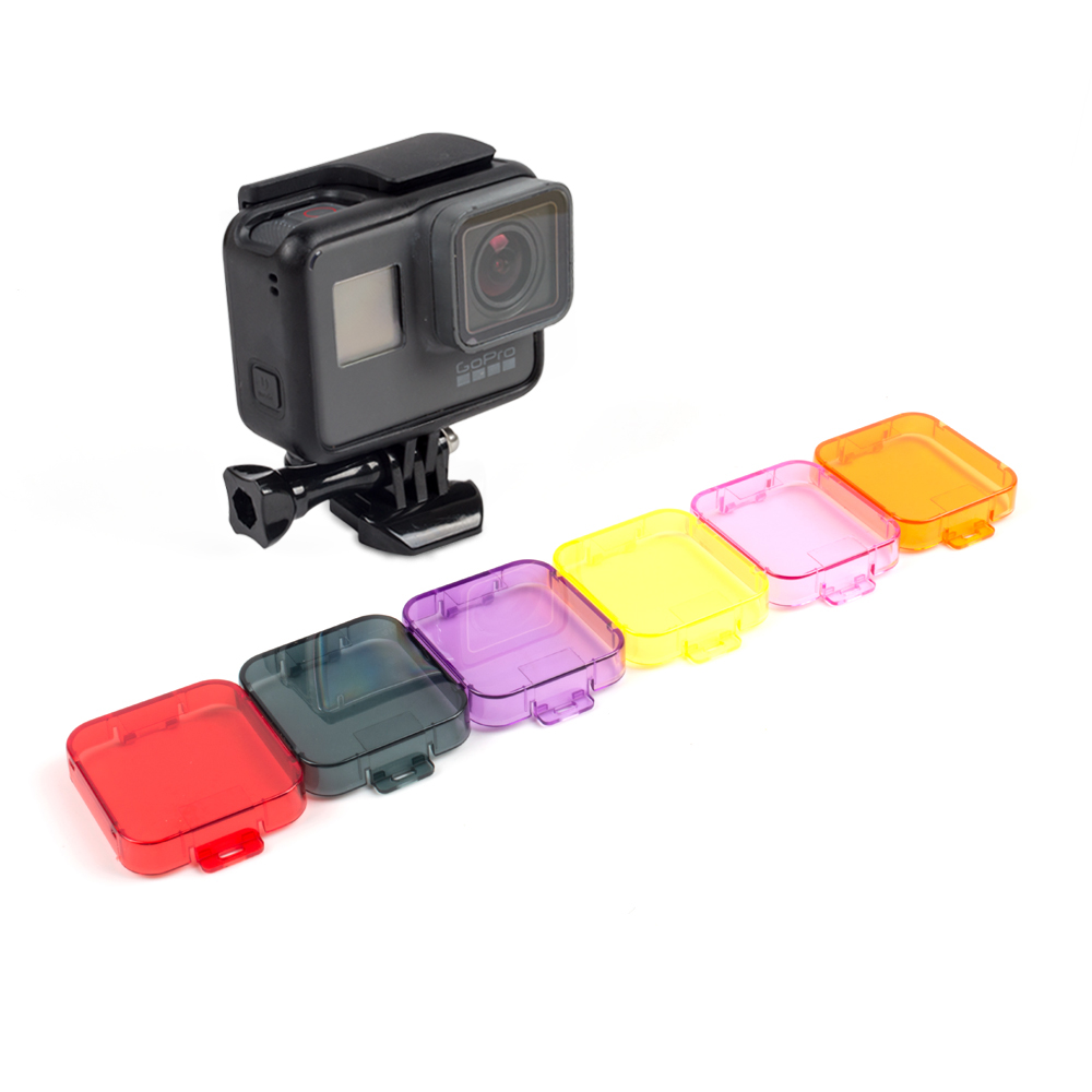 6pcs/lot For Gopro Hero 5 Filters Lens Cap Diving For Go pro Hero 5 Lens Filter Cover Case Underwater For Gopro 5 Accessories justone professional diving housing yellow orange purple filters for gopro hero 3