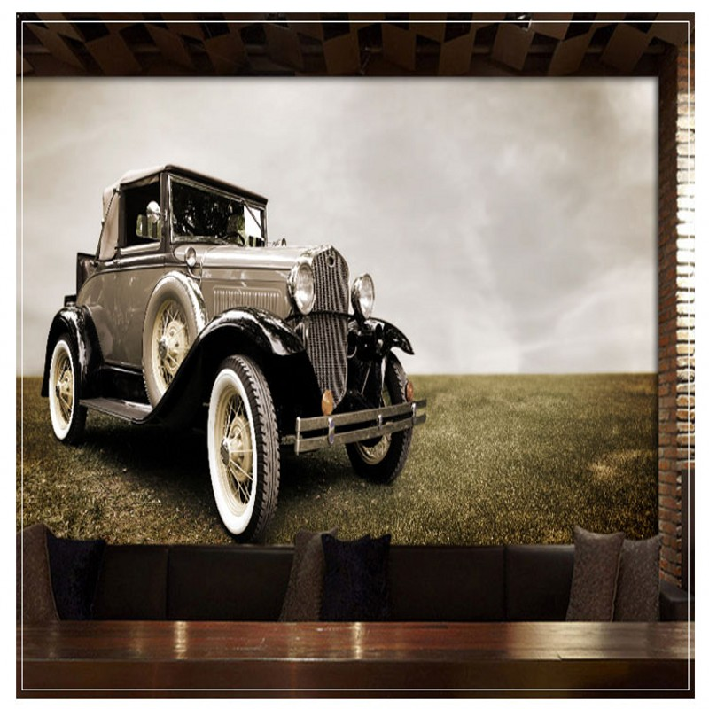 Photo wallpaper Retro Nostalgic Classic Car Creative Wallpaper Restaurant Sofa TV Background wall mural bar internet cafe mural custom photo wallpaper large mural retro old newspaper english letter bar hot pot restaurant background wall wallpaper mural