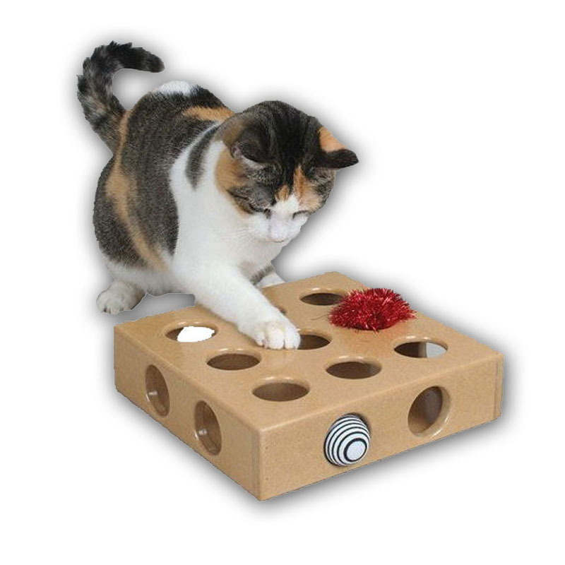 Ortilerri Cat Toy Pet Peek&Play Toy Box Cats Hide&Seek Box Scratching Toy Funny Platform Kitty