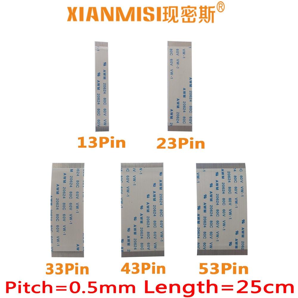 FFC/FPC Flat Flex Cable 13Pin 23Pin 33Pin 43Pin 53Pin Same Side 0.5mm Pitch AWM VW-1 20624 20798 80C 60V Length 25cm 5PCS