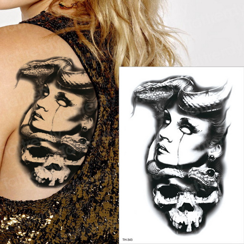 Image 5 - Horror clock crow dark clouds pyramid scorpion temporary tattoos scorpion tattoo design for men women tattoo compass harry style-in Temporary Tattoos from Beauty & Health