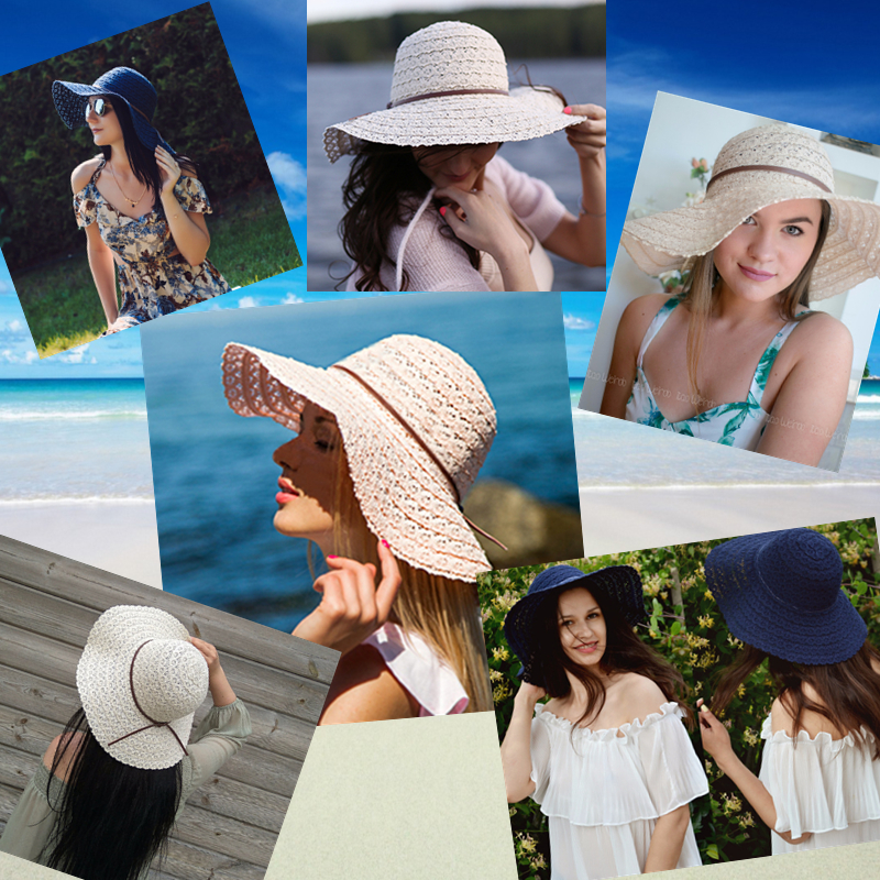 Summer Beach Sun Hats for Women Bohemia Woman Foldable Floppy Travel Packable UV Hat Wide Brim Hat