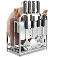 A1 304 stainless steel knife holder kitchen rack multifunctional kitchen supplies chopsticks cutting board tool rack wx8161140