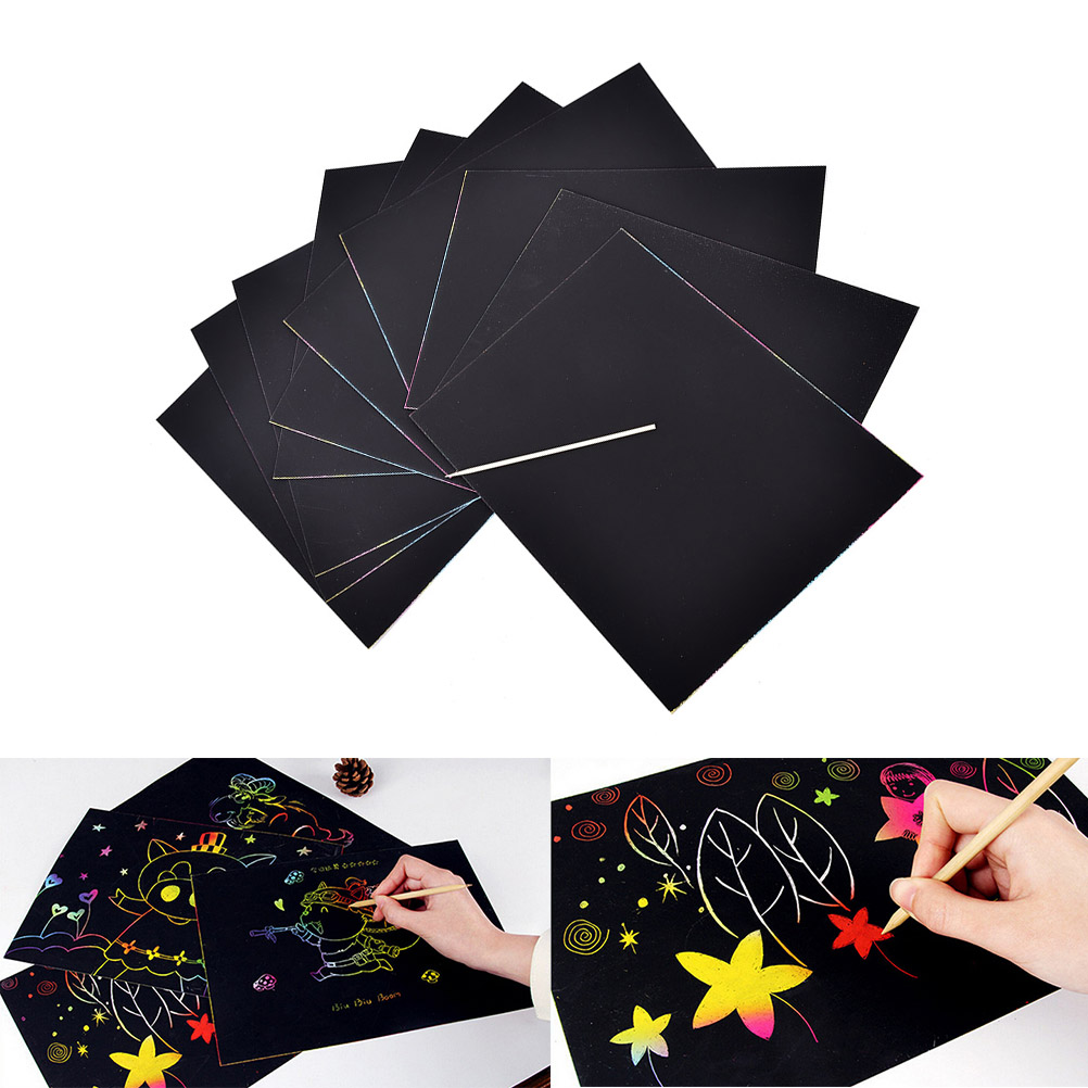 10 Sheets 16K Kids Painting Set Scratch Sheets Paper Colorful Magic Scratch Art Painting Paper With Drawing Stick Pens Scratch