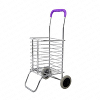 Shopping Cart Stainless Steel Buy Food Cart Small Pull Cart Home Trolley Car Climb Stairs Folding Portable Pull Cart Trailer