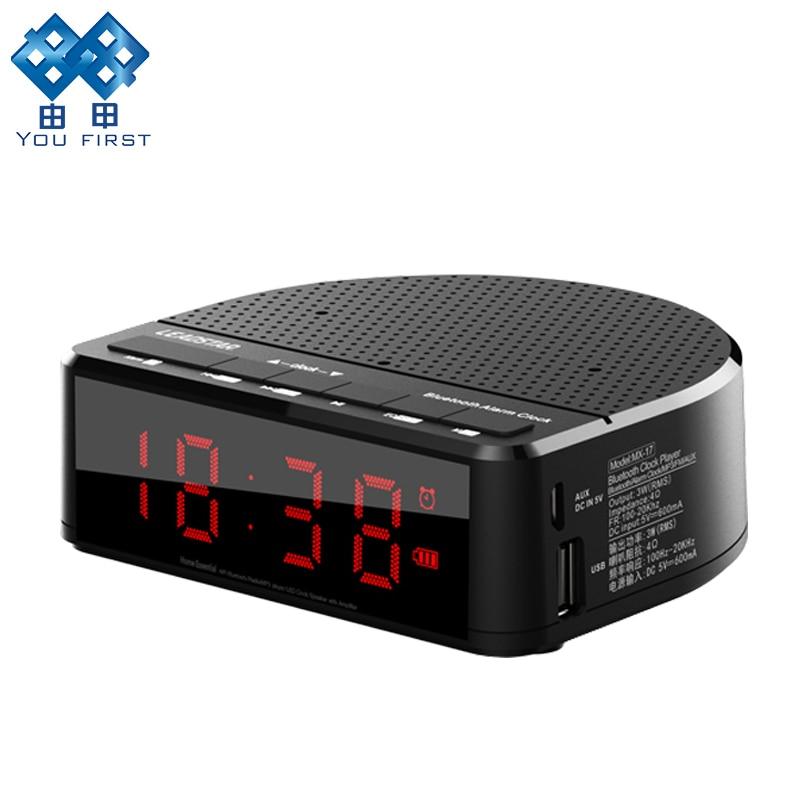 Black Tonysa Wireless Bluetooth Music Audio Speaker MP3 Player with AUX Alarm Clock FM Radio LED Display