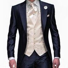 Последний дизайн пальто брюки мужские свадебные костюмы темно-синие смокинги жениха Свадебные смокинги друзей жениха костюм из 3 предметов костюм свидетеля Терно