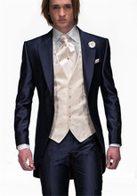 latest coat pant designs Mens Wedding Suits Navy Blue Groom Tuxedos Groomsmen Suit 3 Piece Best Men Terno