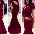 Borgonha Vestidos de Noite Árabe 2017 Lindo de Um Ombro Strap Cetim Stretch Longo Sereia Mulheres Formal Evening Vestidos Vestido