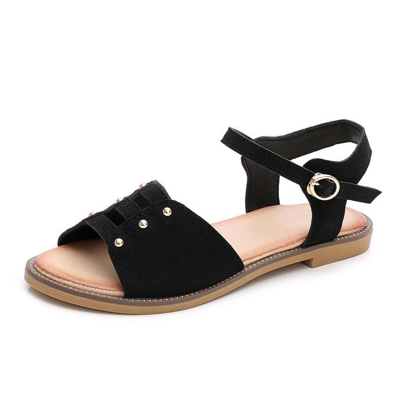 Plus Verano 10 Mujeres Beige negro Mujer Zapatillas verde Tamaño Casuales Zapatos Sandalias De Para Abramenko Cuero Playa PxOqFSHnwW