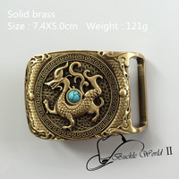 Retail New Fashion Solid Brass Lined High Grade Turquoise Dragon Belt Buckle For Men Jeans Accessories