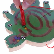 Kid Wooden Puzzle  Magnetic Maze Toy Frog Snail Cartoon  Intellectual Development Jigsaw Board Boy Girl Christmas Gift