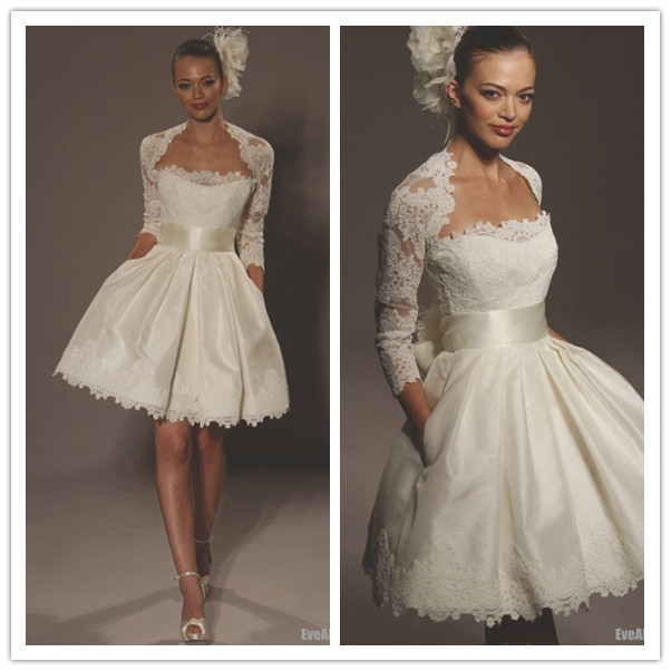 Ivory Lace Long Sleeve Corset Short Wedding Dresses Ball Gown 2014