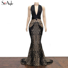 SoAyle Sexy Back Luxury Mermaid Dresses For Prom Dresses