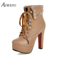AIWEIYiสตรีพลัสขนาด34-48ให้อบอุ่นรองเท้าหิมะRivetsรองเท้าส้นสูงลูกไม้ขึ้นขนแพลตฟอร์มรองเท้าสั้นสีดำB Ooties