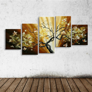 hand-painted oil wall art Purple flowers water side home decoration abstract Landscape oil painting on canvas  FL5-202