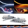 2pcs LED strip flexible light Waterproof Daytime Running Lights DRL Switchback Turn light Signal bulb lamp for Headlight