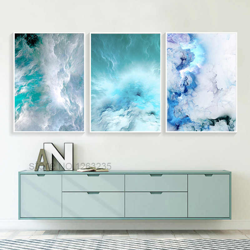 Blue Marble Painting Abstract Painting Canvas Pictures For Living Room Canvas Art Wall Posters And Prints Art Print Home Decor