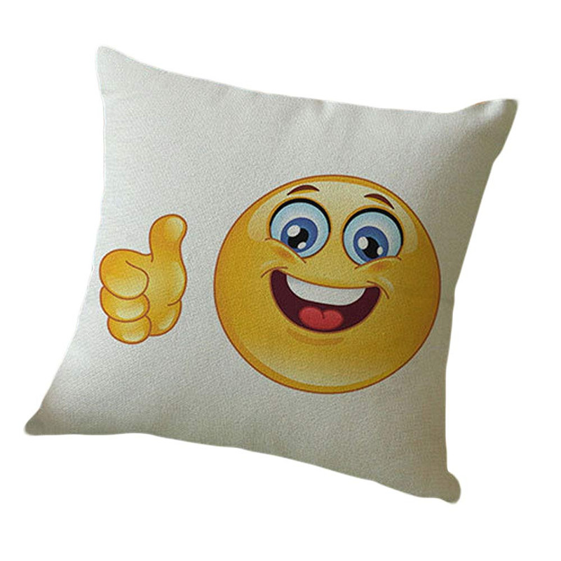 1PC Cute GOOD JOB Emoji pillowslip case funny pattern throw pillow cushion case cover square shape 45cm on sale
