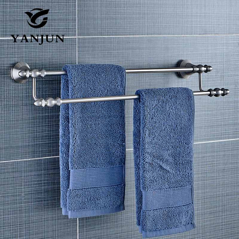 YANJUN Wall-mounted 304 Stainless Steel Double Towel Bars Towel Racks Towel Holder  Bathroom Products For Home YJ-81548 free shipping bathroom accessories products solid 304 stainless steel nickel brushed double towel bars towel holder sus003