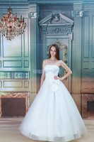 free shipping 2016 new design hot costume fairy ball gown handmade bow white/ivory custom size/color bridal dress wedding dress