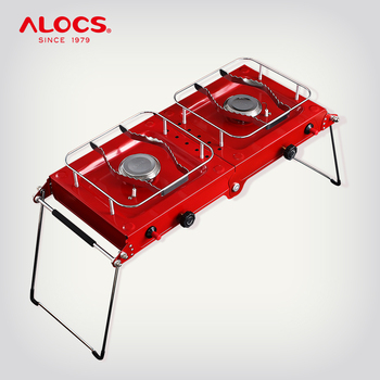 ALOCS CS-G06 Compact Foldable Portable 3000W Camping Cooking Double Gas Stove Burner For Outdoor Backpacking Camping Furnace
