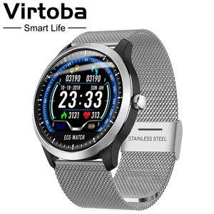 Image 1 - Makibes BR4 ekg PPG inteligentny zegarek mężczyźni z elektrokardiogramem wyświetlacz Holter pulsometr ciśnienie krwi inteligentny zegarek android