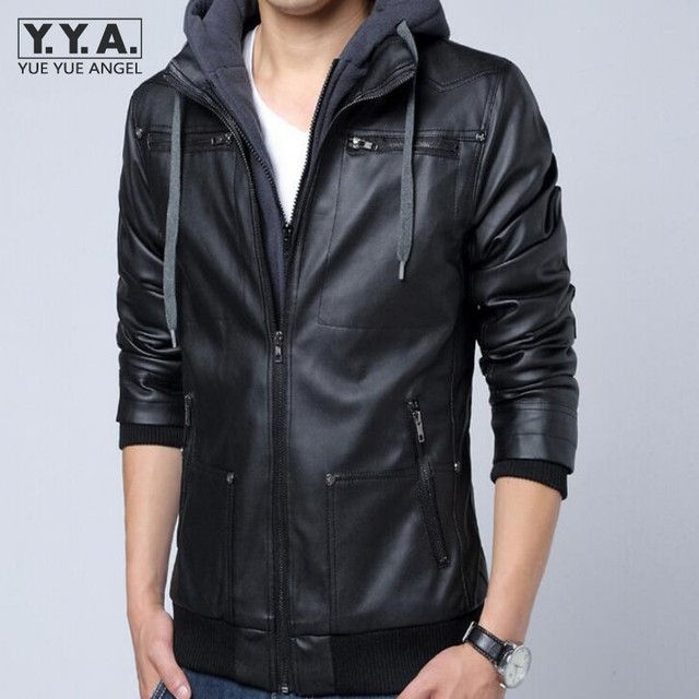 412259bb1e4 US $50.17 10% OFF|Hot Casual Hooded Faux Leather Jacket Men Korean Slim Fit  Black Coats Vintage Punk Homme Jackets Rock Jaqueta Masculina Inverno-in ...