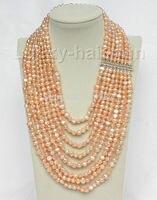 17 24 8row baroque pink pearls necklace 925 silver clasp