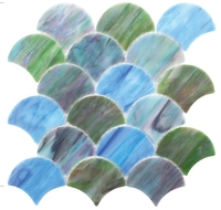 Fan shaped Blue Green Stained Glass Mosaic Tile for KTV bar background decoration DIY Wallpaper