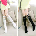Mamimore negro cat patrón de encaje blanco hasta la rodilla niñas calcetines de los niños calcetines de Algodón de los Bebés Calcetines Niños Lindos de la Nueva Llegada de Largo meias