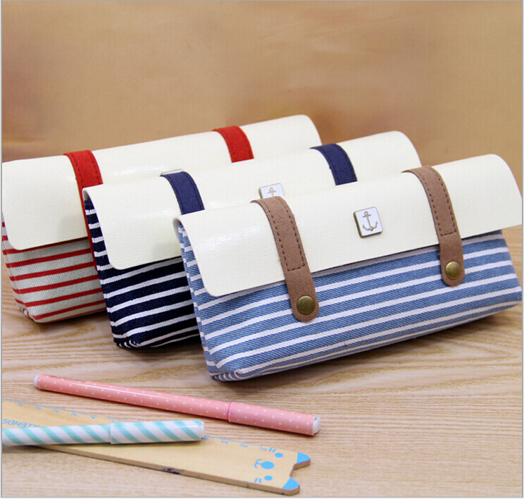 New Arrival Modern Sea Style Pencil Case Wearproof Striped Pencil Bag School Stationery For Students Cosmetic Bag striped wrap pencil bag