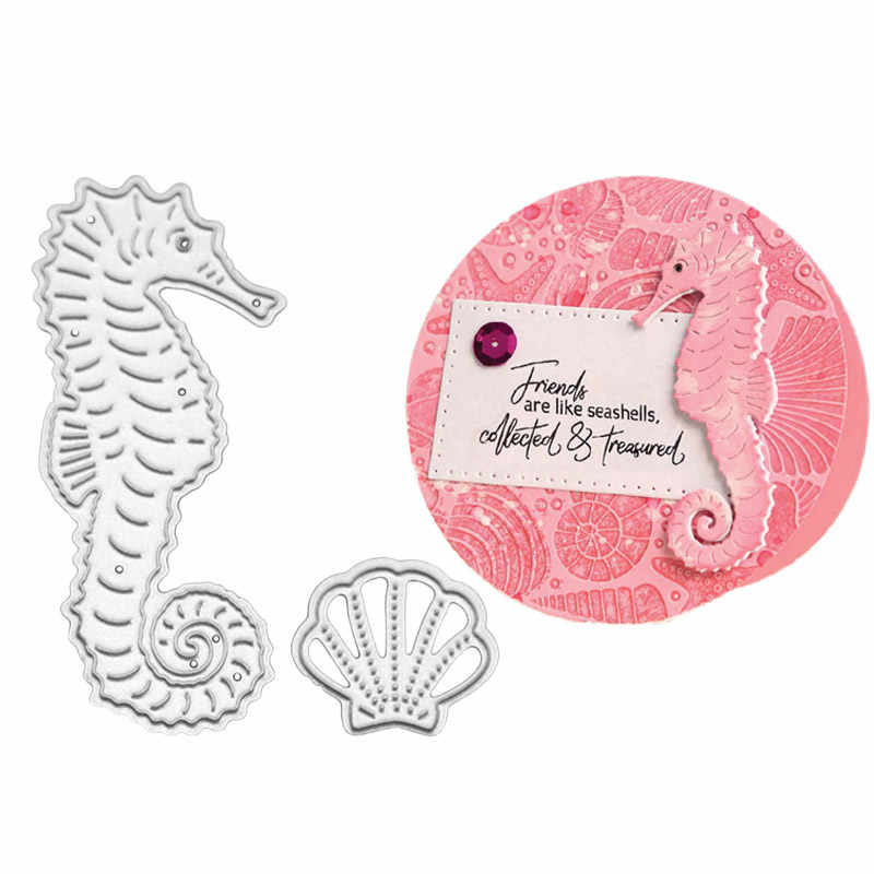 Seahorse Shell Metal Cutting Dies Scrapbooking DIY Album Embossing Folder Paper Cards Maker Template Decor Stencils Crafts Dies